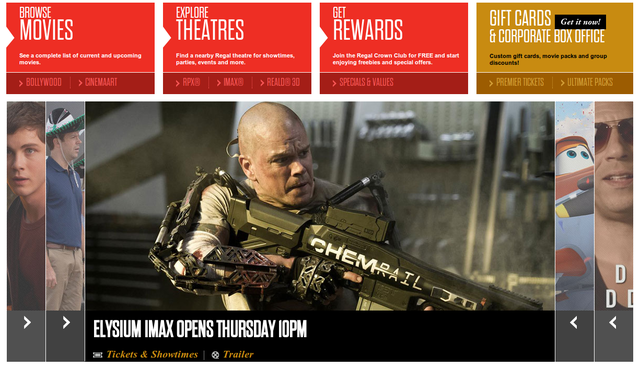 The carousel on the Regal Cinemas home page